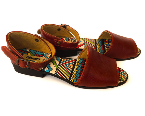 Flat Sandal Leather Peep - Ruby & Ndebele