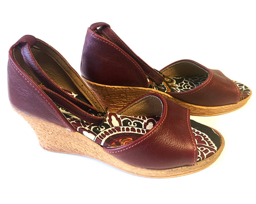 African Queen Wedge - Leather Low Wedge - Ruby
