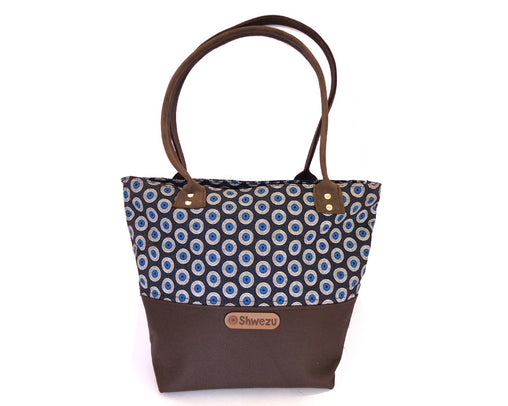 Leather & Shweshwe Handbag - Navy & Brown