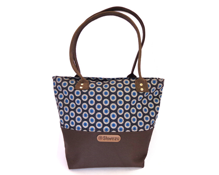 Leather & Shweshwe Handbag - Mocha & Blue