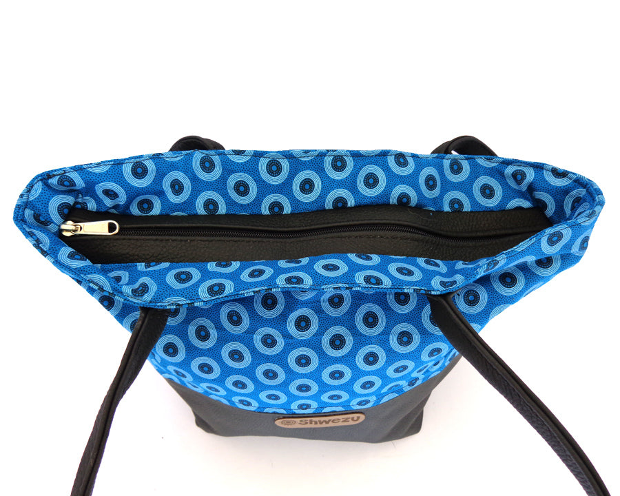 Leather & Shweshwe Handbag - Turquoise & Black
