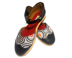 Leather & Print Dolly - Black, White & Red