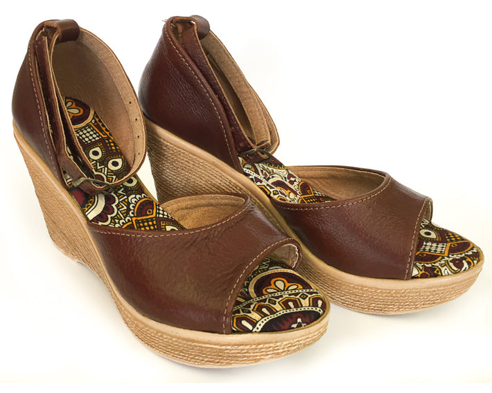 African Queen Wedges - Leather Brown