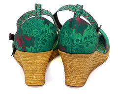 Shweshwe Low Wedges - Green (End of Range)