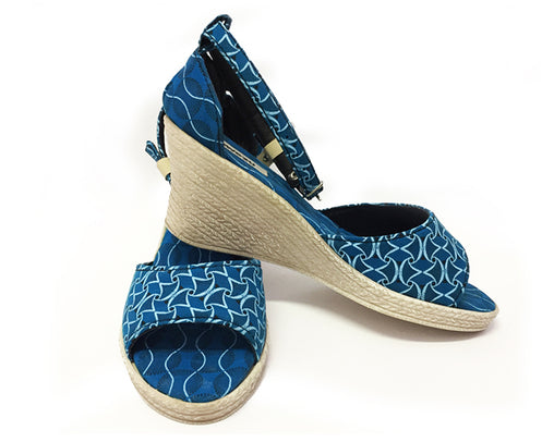 Shweshwe Low Wedges - Turquoise