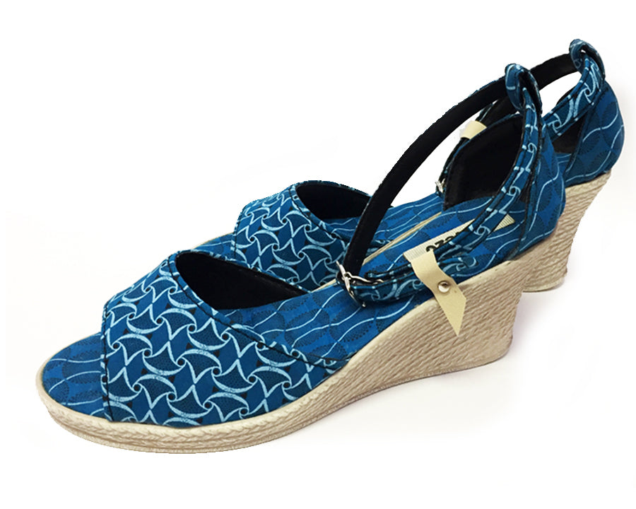 Shweshwe Shoes - Low Wedge Heels - Turquoise
