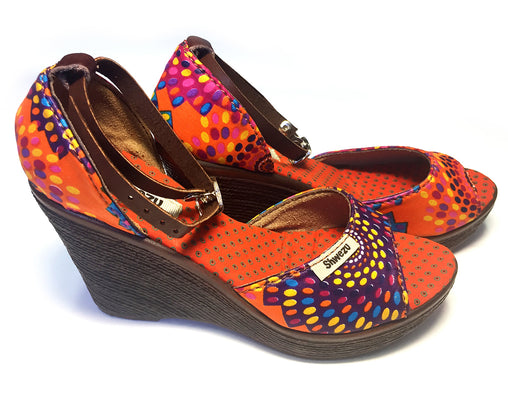 African Queen Wedges - Rainbow Dots Orange
