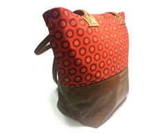 Leather & Shweshwe Handbag - Bright Orange, Red  & Brown