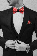 Shweshwe Bow Tie - Red & Black