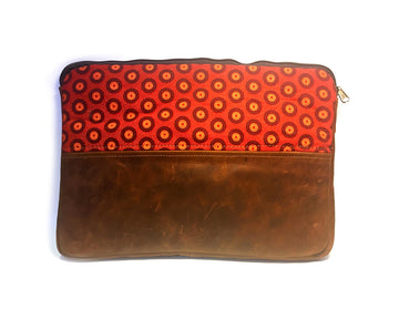 Laptop Sleeve - Leather Small - Orange & Brown