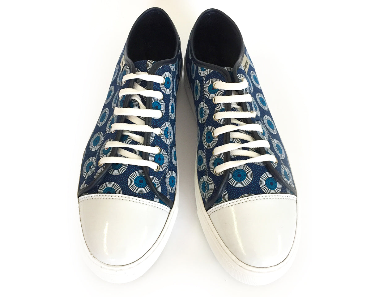 Shweshwe Sneakers - Chucks - Navy & White