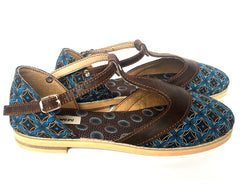 T-bar Leather & Shweshwe - Chocolate & turquoise