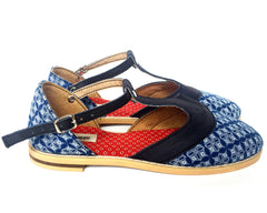 T-bar Leather & Shweshe - Navy floral