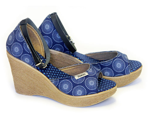 Shweshwe Wedges - Navy Blue