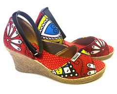 African Queen Low Wedges - Ethnic Floral
