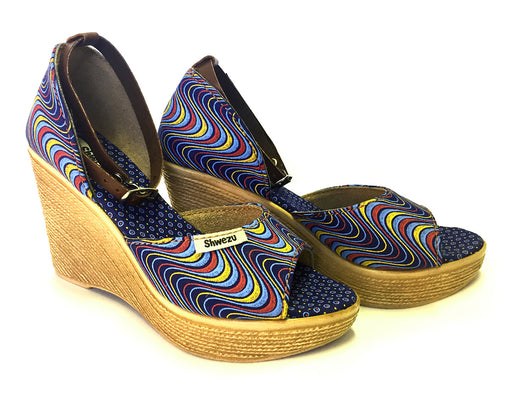 Blue & yellow wave Shweshwe wedges