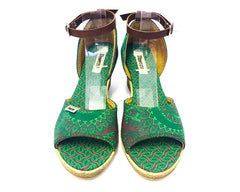 Shweshwe Low Wedges - Green