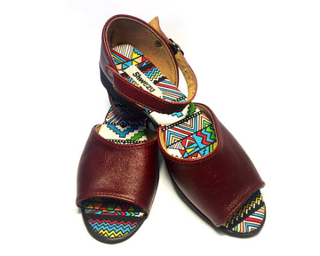 Flat Sandal Leather Peep - Ruby & Ndebele new