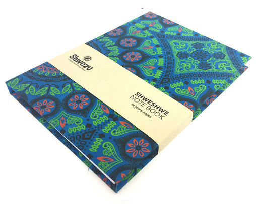 Shweshwe A5 Notebook - Green Floral