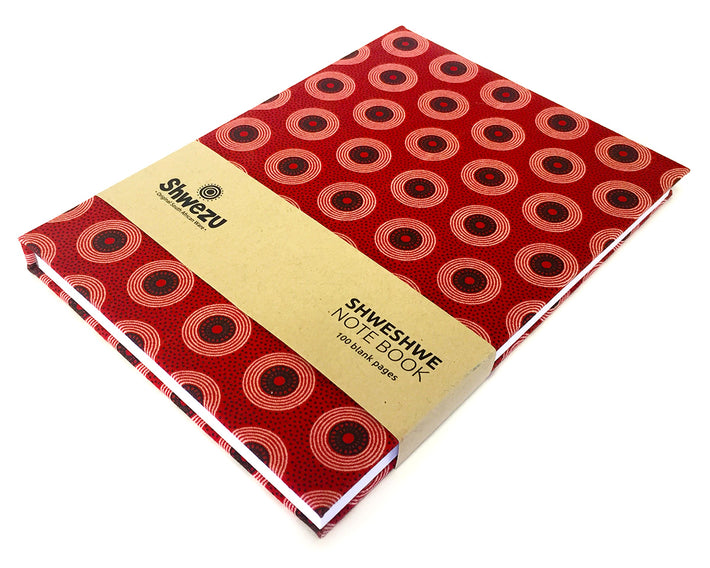 Shweshwe A5 Notebook - Red Circles