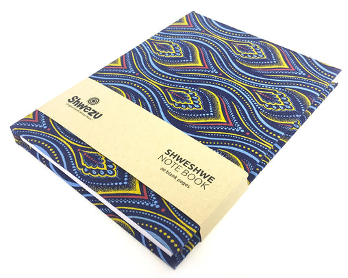 Shweshwe A5 Notebook - Yellow & Blue Paisley