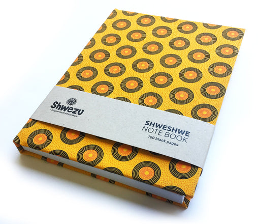Shweshwe A5 Notebook - Yellow Circles