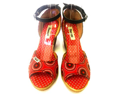 Shweshwe Wedges - Red Circles