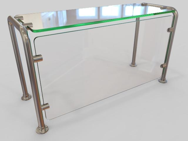 Pass-over Sneeze Guard with Shelf and Rear Support - HOSPITALITY FIXTURES - Trade Diversified