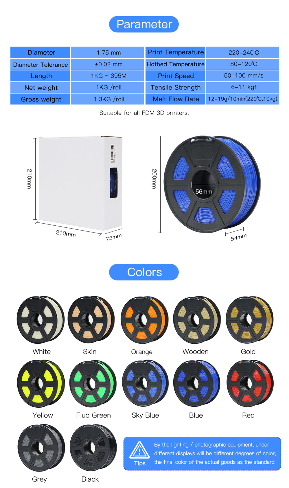 ANYCUBIC ABS Filament 3D printer 1.75mm 1kg (14 Color Options)