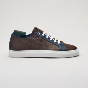 Men's leather sneaker in brown, made in Italy, handmade