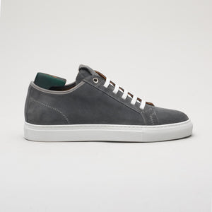 Men's sneaker in suede grey, made in Italy, handmade