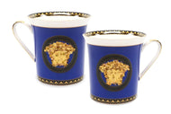 Royalty Porcelain 2-pc Mug Set Medusa for Tea or Coffee, Bone China (Blue)