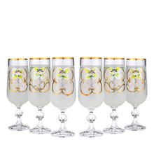 Crystalex 6pc Bohemia Colored Crystal White Champagne Flute Glasses Set 24K Gold