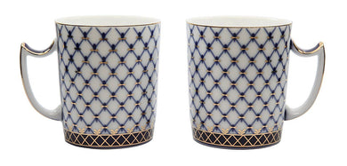 SET of 2 HQ Lomonosov Tea Cups / Mugs, Russian Saint Petersburg Cobalt Blue Net