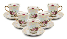 "Royalty Porcelain 12-pc ""Cobalt Rose"" Tea/Coffee Cup Set, 24K Gold, Bone China"