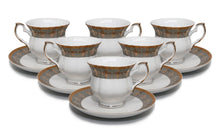 "Royalty Porcelain 12-pc ""Fleur-de-Lis"" Tea/Coffee Set, 24K Gold Bone China"