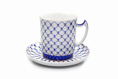 Lomonosov Ornament Tea Cup / Mug 13 Oz, Russian Saint Petersburg Cobalt Blue Net