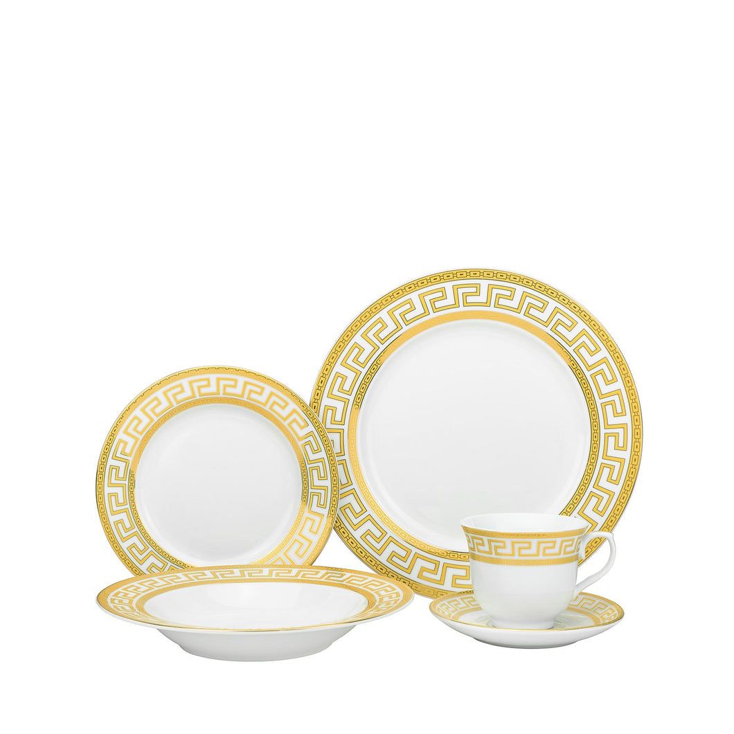 Royalty Porcelain Classic Gold Rim 20-pc 'Gold Greek' Dinner Set for 4, Premium Bone China