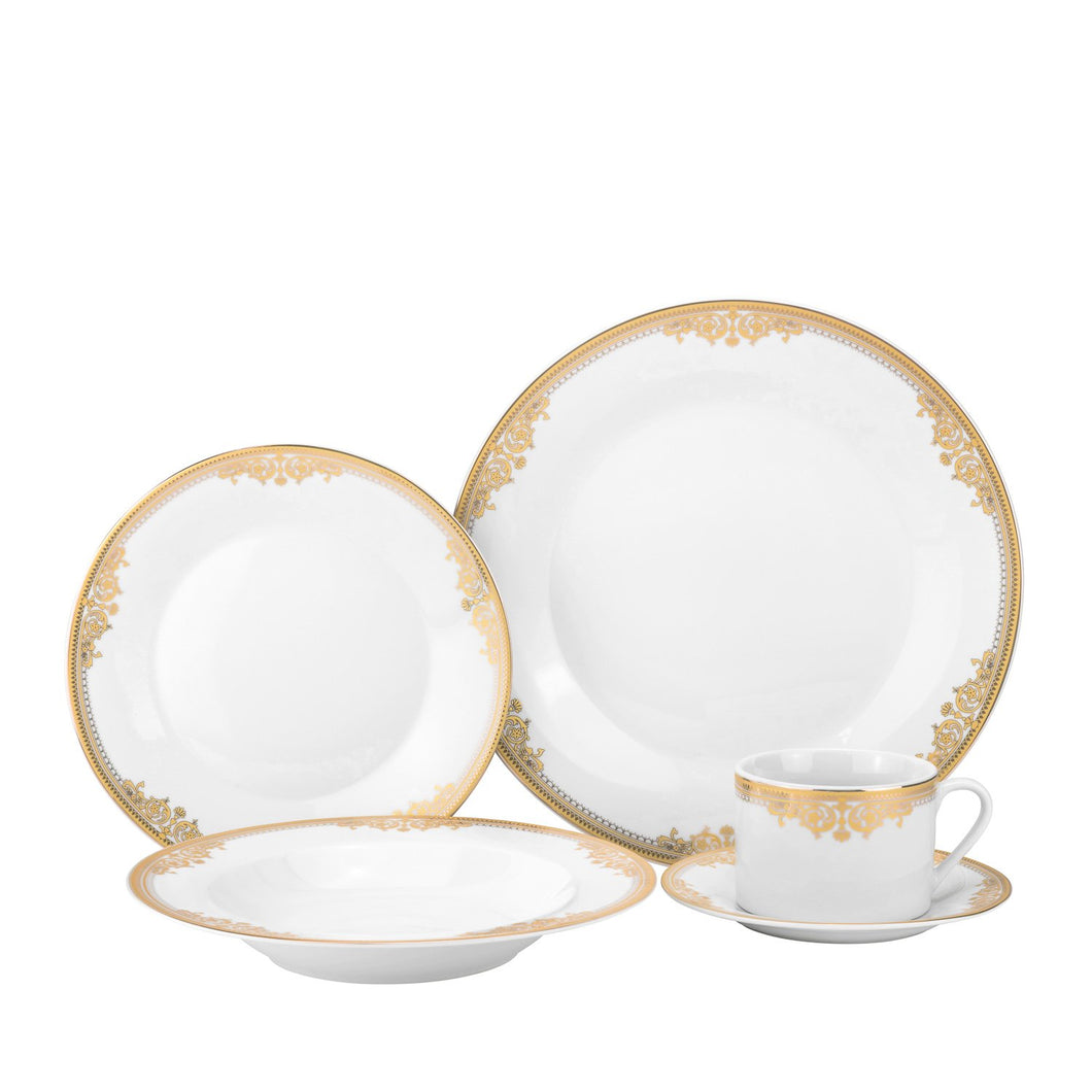 Royalty Porcelain Vintage Gold Pattern 20-pc 'Rococo Gold' Dinner Set for 4, Premium Bone China