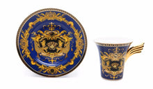 Royalty Porcelain 12-pc Blue Tea Set, Service for 6, Medusa Greek Key, 24K Gold