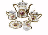 Royalty Porcelain Tea Set 17pc with 24K Gold 'Second Date' Limoges China (White)