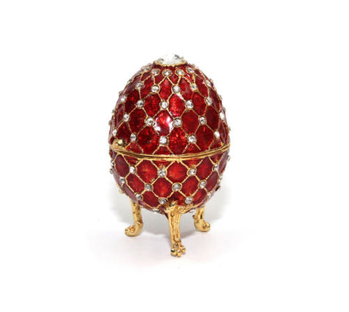 Faberge Egg RED Decorative 24K Gold Trinket Jewelry Box with Swarovski Crystals