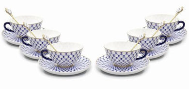 Lomonosov 12pc Tea or Coffee Cups Set, Russian Saint Petersburg Cobalt Blue Net