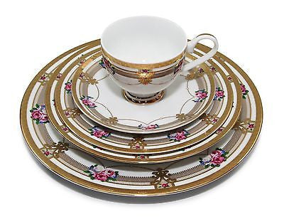 Royalty Porcelain Floral 5pc Place Setting for 1, 24K Gold-Plated