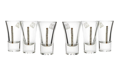 Italian Collection Crystal Set of 6 Shot Glasses with Tray Swarovsky Crystal