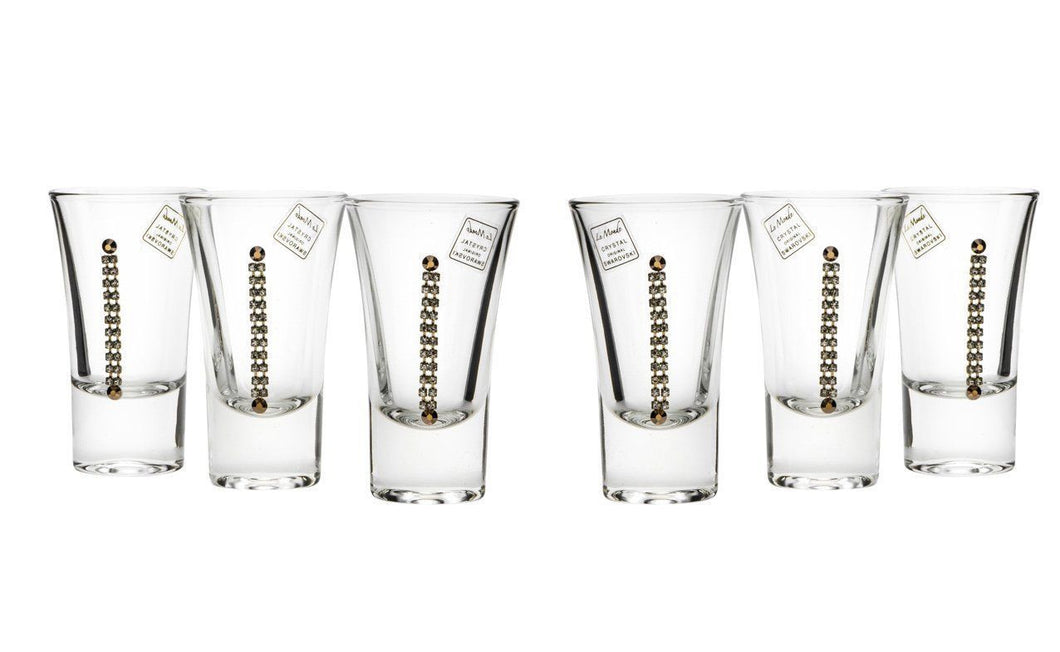 Le Monde Cadeaux, Swarovski Jeweled Crystal Vodka Shot Glasses, 6-Piece Set