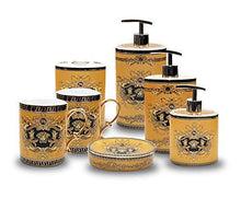Royalty Porcelain 9-Piece Bath & Vanity Accessories Set, 24K Gold Plated