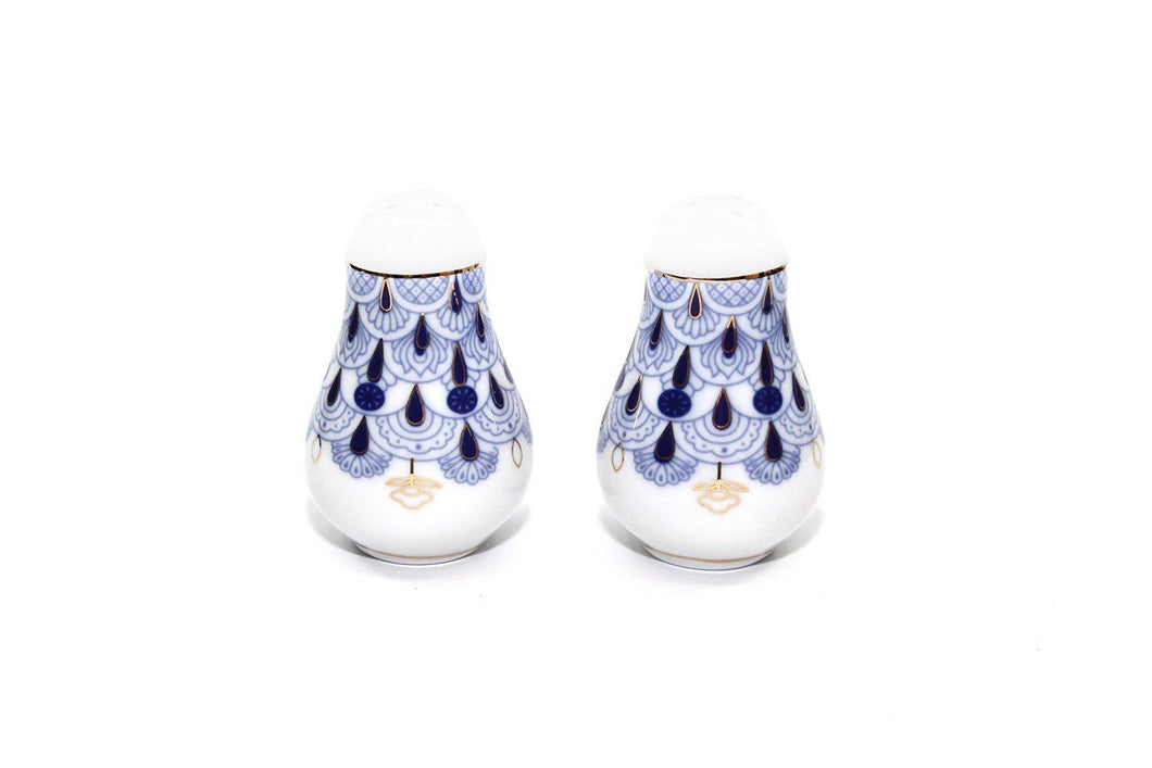 Lomonosov Ornament Porcelain Salt and Pepper Shakers 2-pc Set, Cobalt Blue Net