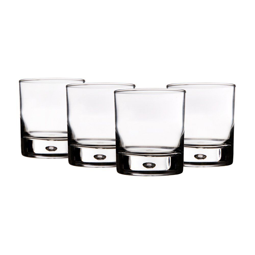Red Series Bubble, Whiskey or Brandy Rocks Lead-Free Glasses 10 Oz, Set of 4