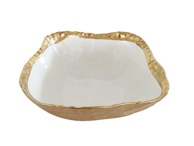 Royalty Porcelain Salad Bowl, Pasta Serving Dish White with Gold Rim